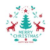 Happy New Year and Merry Christmas illustration. Happy New Year lettering design for greeting card. Vector holiday design on white background. For posters Royalty Free Stock Photos