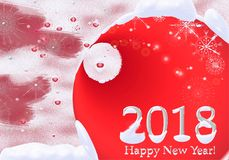 Happy New Year 2018 lettering design  greeting illustration. Winter red white holiday background with snow, snowflakes and christm. As ball for postcards Stock Photo