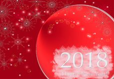 Happy New Year 2018 lettering design  greeting illustration. Winter red white holiday background with snow, snowflakes. Happy New Year 2018 lettering design Royalty Free Stock Photography