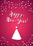 Happy New Year Lettering. Design. Vector template for greeting card, pink back and New Year Tree Royalty Free Stock Photo