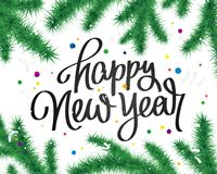 Happy New Year Lettering. Fir branches. Happy New Year Lettering. Christmas Fir branches. Cute holiday illustration. Great postcard Royalty Free Stock Photo