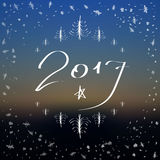 Happy New Year lettering Greeting Card. Blurred background vector illustration