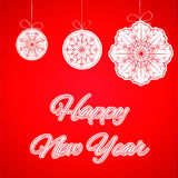 Happy New Year lettering Greeting Card. Christmas balls and snowflakes on red background. Vector illustration/ Eps10 royalty free illustration