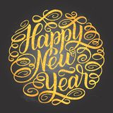 Happy New Year, lettering Greeting Card design circle text frame on chalkboard background with gold yellow letters. Vector illustr. Ation Royalty Free Stock Images