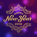 Happy new year 2017 lettering greeting card design. Template Stock Photos