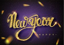 Happy New Year lettering greeting card for holiday. Gold confetti falls. Calligraphy lettering New Year. Ultraviolet Design of gre. Eting card of Falling Shiny vector illustration