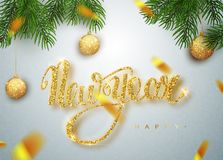 Happy New Year lettering greeting card for holiday. Golden confetti. Calligraphy lettering New Year. Vector Illustration. EPS10 stock illustration