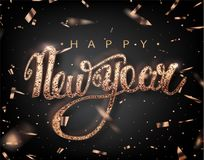 Happy New Year lettering greeting card for holiday. Rose Golden confetti falls. Calligraphy lettering New Year. Vector Illustratio. N EPS10 royalty free illustration
