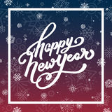 Happy New Year lettering for greeting card. Holiday lettering with white snowflakes on beautiful evening sky background. Happy New Year lettering greeting card Royalty Free Stock Image