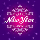 Happy new year 2017 lettering greeting card with snowflakes Royalty Free Stock Images