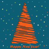 Happy New Year lettering Greeting Card, vector illustration.  stock illustration