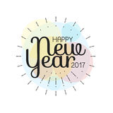 Happy New Year 2017 lettering Greeting Card. Vector illustration.  Royalty Free Stock Image