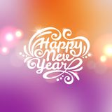 Happy New Year lettering Greeting Card. Royalty Free Stock Photography