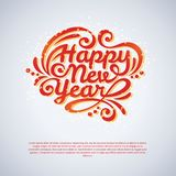Happy New Year lettering Greeting Card. Vector illustration. Light background with lights or snowflakes Stock Images