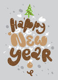 Happy new year lettering for greeting cards Stock Image
