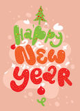 Happy new year lettering for greeting cards Stock Photography
