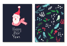 Happy New Year lettering. Greeting cards set with christmas symbols. Royalty Free Stock Photo