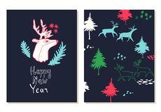 Happy New Year lettering. Greeting cards set with christmas symbols. Hand drawn illustration with deers and firs. Doodle style Stock Photos
