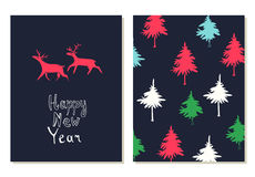 Happy New Year lettering. Greeting cards set with christmas symbols. Hand drawn illustration with deers and firs. Doodle style stock illustration