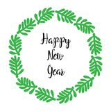 Happy New Year lettering greeting wreath. Happy New Year text calligraphy lettering greeting card with wreath fir branches, isolated on white background. Simple Royalty Free Stock Image