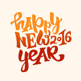 Happy new 2016 year lettering. Happy new 2016 year hand drawn lettering.Modern typography poster, greeting card or print invitation.Vector colorful illustration Royalty Free Stock Images