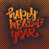 Happy new 2017 year lettering. Happy new 2017 year hand drawn lettering.Modern typography poster, greeting card or print invitation.Vector colorful illustration Royalty Free Stock Photo