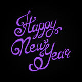 Happy New Year lettering, handmade calligraphy. Holiday vector Illustration. Violet letters on black background royalty free illustration