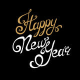 Happy New Year lettering, handmade calligraphy. Holiday vector Illustration. White and golden letters on black background Royalty Free Stock Photo