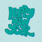 Happy new year - lettering holiday calligraphy phrase. Fun brush ink typography illustration for greeting card, t-shirt Royalty Free Stock Photos