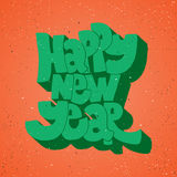 Happy new year - lettering holiday calligraphy phrase. Fun brush ink typography illustration for greeting card, t-shirt Royalty Free Stock Photography