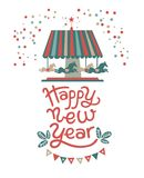Christmas market poster. Happy new year lettering and illustration. Composition with the carousel with horses and the phrase happy new year. At the bottom of the Royalty Free Stock Photos