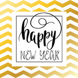 Happy New Year lettering for invitation and greeting card. Vector golden text Happy new year on gold and white zigzag chevron background. Happy New Year Royalty Free Stock Photo