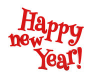Happy new year lettering isolated Stock Photo