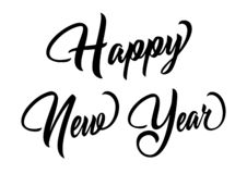 Happy New Year Lettering, Isolated on White Background. royalty free illustration