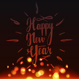 Happy New Year 2017 lettering . New Year vector illustration. With realistic gold bokeh, blured lights . Greeting card Stock Image