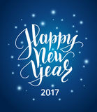 Happy new year lettering over shiny background with snow. Happy new year 2017 lettering over shiny background with snow. Hand drawn text, calligraphy for your Royalty Free Stock Images