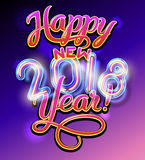 Happy new year. Happy new 2018 year lettering poater with handdrawn brush pen letters and retro neon glass digits. Vector illustration stock illustration