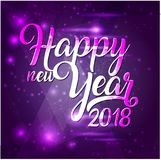 Happy New Year 2018 lettering on purple futuristic background with sparkles. Greeting card design template with typography label. vector illustration Royalty Free Stock Photos