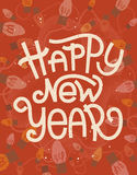 Happy New Year lettering. Retro greeting card with lights Royalty Free Stock Photo