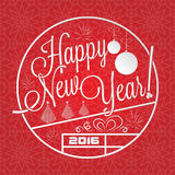 Happy New Year lettering. With seamless winter pattern for your greeting card design Royalty Free Stock Photos