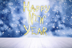Happy New Year lettering at snow weather background. Close up Royalty Free Stock Image