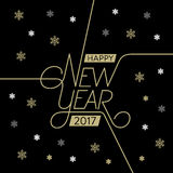 Happy New Year Lettering Snowflake Black Stock Photo