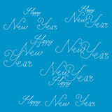 Happy New Year lettering and text Calligraphic set on blue background. Royalty Free Stock Photos