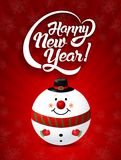 Happy New Year lettering text with christmas toy vector illustration.  Royalty Free Stock Image