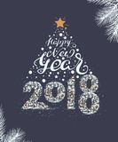 Happy New Year 2018 lettering text. Christmas tree decoration template mockup greeting card Stock Image