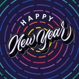 Happy new year lettering typography celebration greeting poster design. Happy new year modern hand lettering typography celebration greeting poster design vector illustration