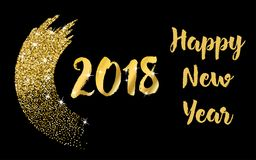 2018 Happy New Year lettering typography design with glitter brush stroke on a black background. Golden vector Stock Images