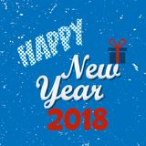 Happy New Year lettering typography on a old snow textured blue background. Vector illustration for greeting cards Royalty Free Stock Photography