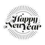 Happy New Year lettering vector. Black Royalty Free Stock Photo