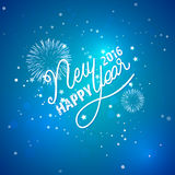 Happy New Year 2016. Lettering. Happy New Year 2016.  white lettering on blue background with firework and decorate with stars Royalty Free Stock Images